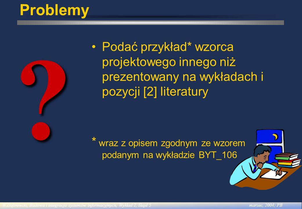 Problemy Podać przykład* wzorca projektowego innego niż prezentowany na wykładach i pozycji [2] literatury.
